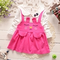 Spring Autumn 100% Cotton Baby Girls Long Sleeve Doll Collar Cute Rabbit Kids Dress Infant Clothes vestidos roupas de bebe