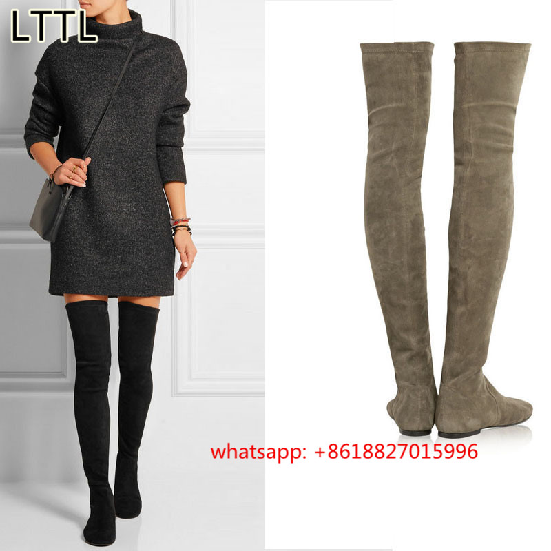 2017 New Womens Stretch Suede Over The Knee Boots Y Fashion Slim Thigh High Flats Winter Shoes Women Free Shipping In From