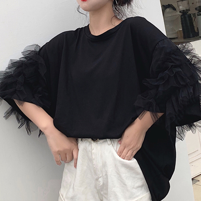 Women Long Blouse White Mesh Butterfly Half Sleeve O-neck Black Patchwork Womens Tops And Blouses 2020 Summer Autumn Tops Female