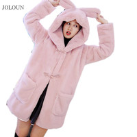 Women's Coat Casual Female Autumn Winter Hooded Trench Coat Pink Gray Long Loose Coats Outwear Manteau Femme Hiver Abrigo Mujer