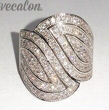 Vecalon Mode Pave set 140 pcs AAAAA Zircon Cz Engagement Band anneau De Mariage pour les Femmes 10KT Or Blanc Rempli Doigt anneau