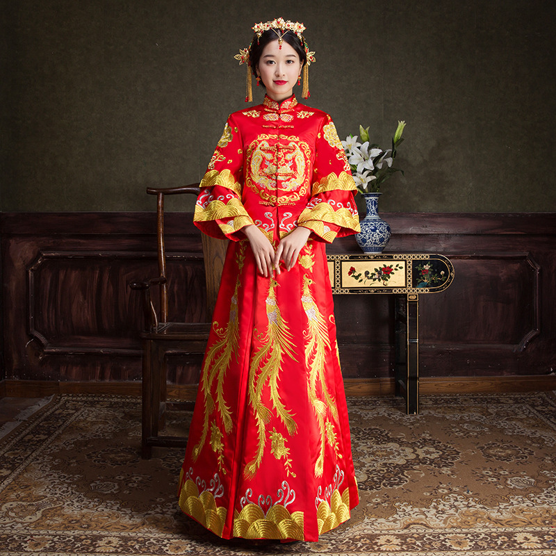 Red Gold Phoenix Embroidery Dresses Female Traditional Chinese Dress