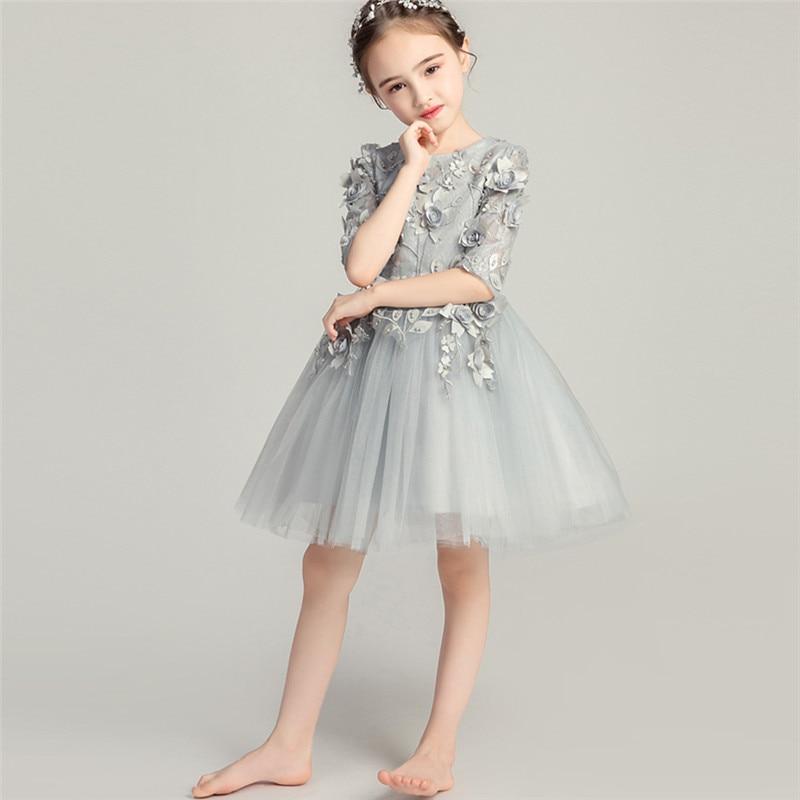 купить Children Girls Elegant Luxury Flowers Birthday Evening Party Princess Ball Gown Dress Baby Kids Dance Tutu Piano Costume Dress недорого