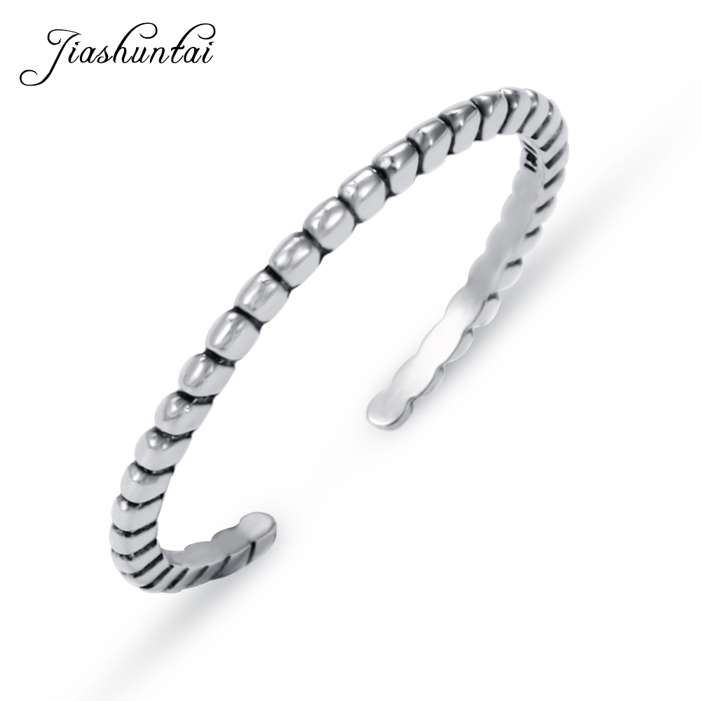 JIASHUNTAI Trendy 100% 925 Sterling Silver Wedding Finger Rings For Women Fine Jewelry Adjustable Best Gifts