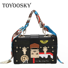 TOYOOSKY Classic fashion design women handbag ladies print shoulder bag scarves box clutch flap bag purse crossbody mini bag cute embroidered applique fashion striped ice cream design ladies shoulder bag handbag crossbody mini messenger bag pouch flap