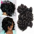 8A Brazilian Virgin Aunty Fumi Hair 3 Bundles Short Bob Human Hair Weave Romance Bouncy Curl Hair Extensions #1B Natural Curly