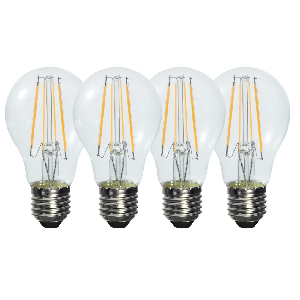 Pack of 4 Retro Style 6W E27 Warm White Clear Glass LED Light Filament Bulb (580LM 2800K ,Replacing 50W Incandescent Lamp) g95 e27 25 40 60 75 watt w 25w 40w 60w 75w incandescent equal g30 e26 silver cap chrome tip led filament bulb 4 6 8 w 4w 6w 8w