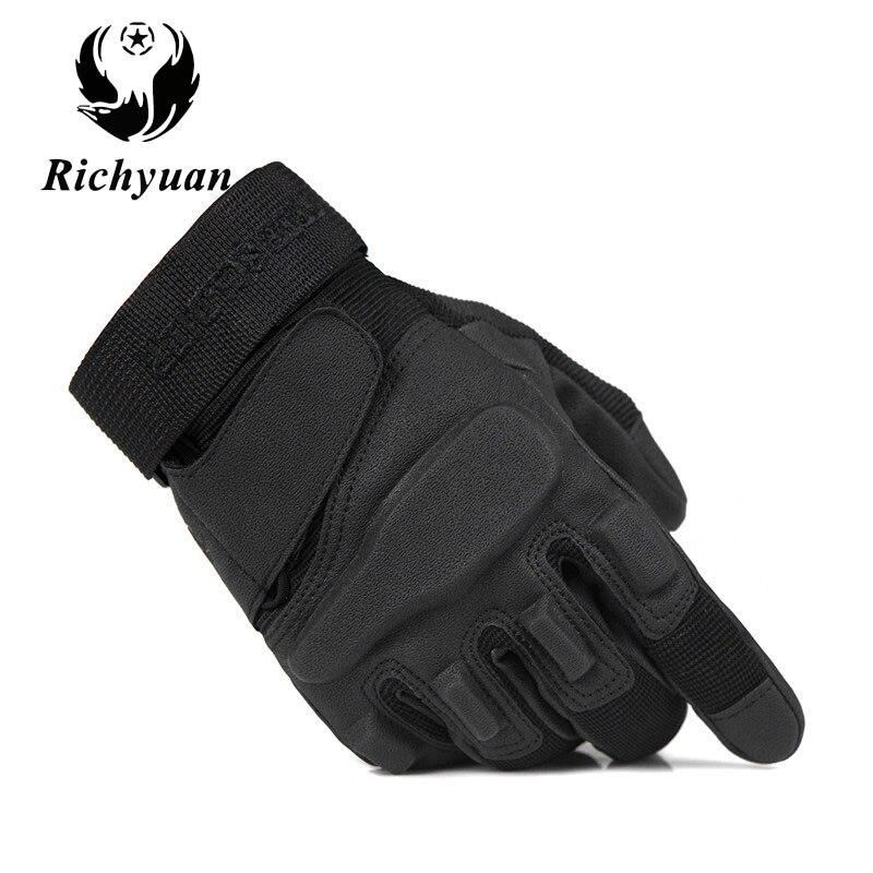 Guantes tácticos del ejército de Richyuan guantes del dedo completo del hombre guantes de seguridad de la policía militar guantes de cuero de secado rápido Anti-resbaladizo guantes de invierno