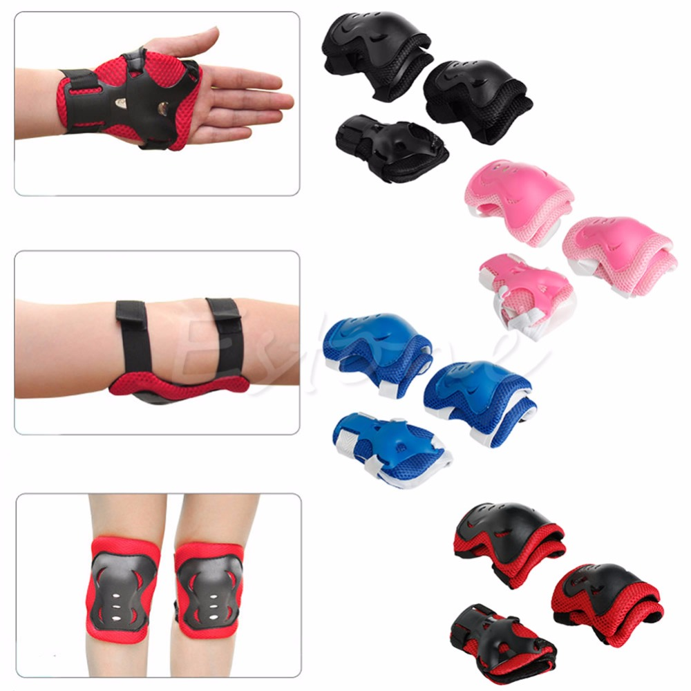 1 set Safe Kids Cycling Roller Skating Knee Elbow Wrist Guard Protective Pad 4 Colors