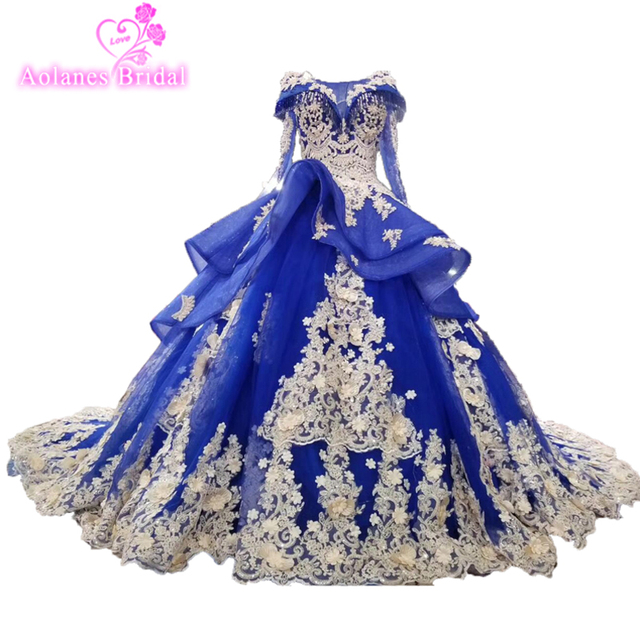 2018 New High-end Evening Dress Banquet Luxury Royal Blue Lace Appliques Beading  Party Ball Gown Custom Formal Prom Dresses 2726b46711f5