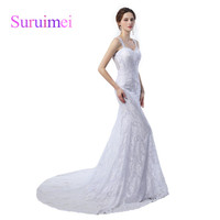 Elegant Cheap Long Mermaid Wedding Dress Vestido De Novia Vintage 2017 White Lace Sexy Backless Sweep