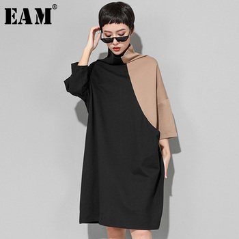 [EAM] 2019 New Spring  Winter High Collar Long Sleeve Hit Color Loose Large Size Sweatshirt Dress Women Fashion Tide JK399