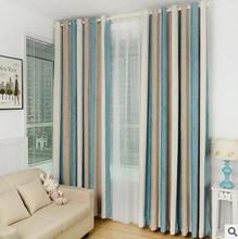Cotton chenille Striped Mediterranean Window curtain  Decoration High Shading Blackout Curtains For Living Room