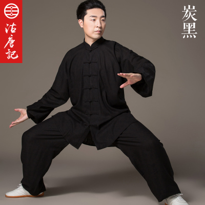 Flax Tai Chi Uniform Taiji Boxing Performance Clothing Autumn Martial Art Practice Serve And WomenSuit  Wing Chun Uniform