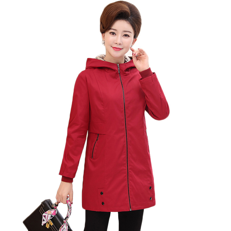Women Trench Coat New Spring Autumn Middle-aged Clothes Basic Coat Hooded Outerwear Plus Size 5XL Windbreaker Female Tops AA790
