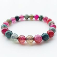 Натуральный агат браслет круглый красочные фиолетовый хрустальные бусины камень pulseira feminina Для мужчин и Для женщин классические ювелирные подарки
