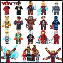 Marvel Iron Man Legoingly Iron Man Mark 2 Armor Machine Racing Mini Dolls Pepper Bricks Building Blocks Toys for Children Gifts(China)