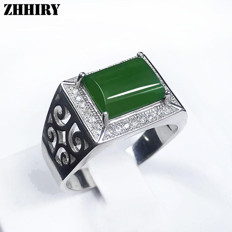 Man ring echte natuurlijke jaspis ringen jade edelsteen echte solide - Fijne sieraden