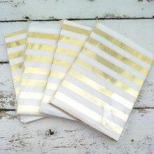125pcs Medium Metallic Gold Horizontal Stripes Paper Gift Bags 5 x 7 Candy Buffet Wedding Favor Birthday Sweet