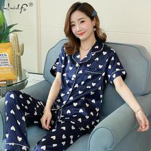 Bloemen Zijden Pyjama Set Vrouwen Satijn Nachtkleding Korte Mouwen Lange Broek Slaap Pak Dames Zijden Pyjama Thuis Kleding Nachtkleding