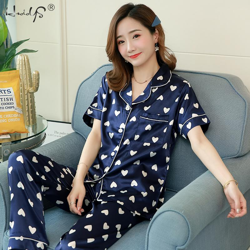 Floral Silk   Pajamas     Set   Women Satin Sleepwear Short Sleeves Long Pants Sleep Suit Ladies Silk Pyjamas Home Clothing Nightwear