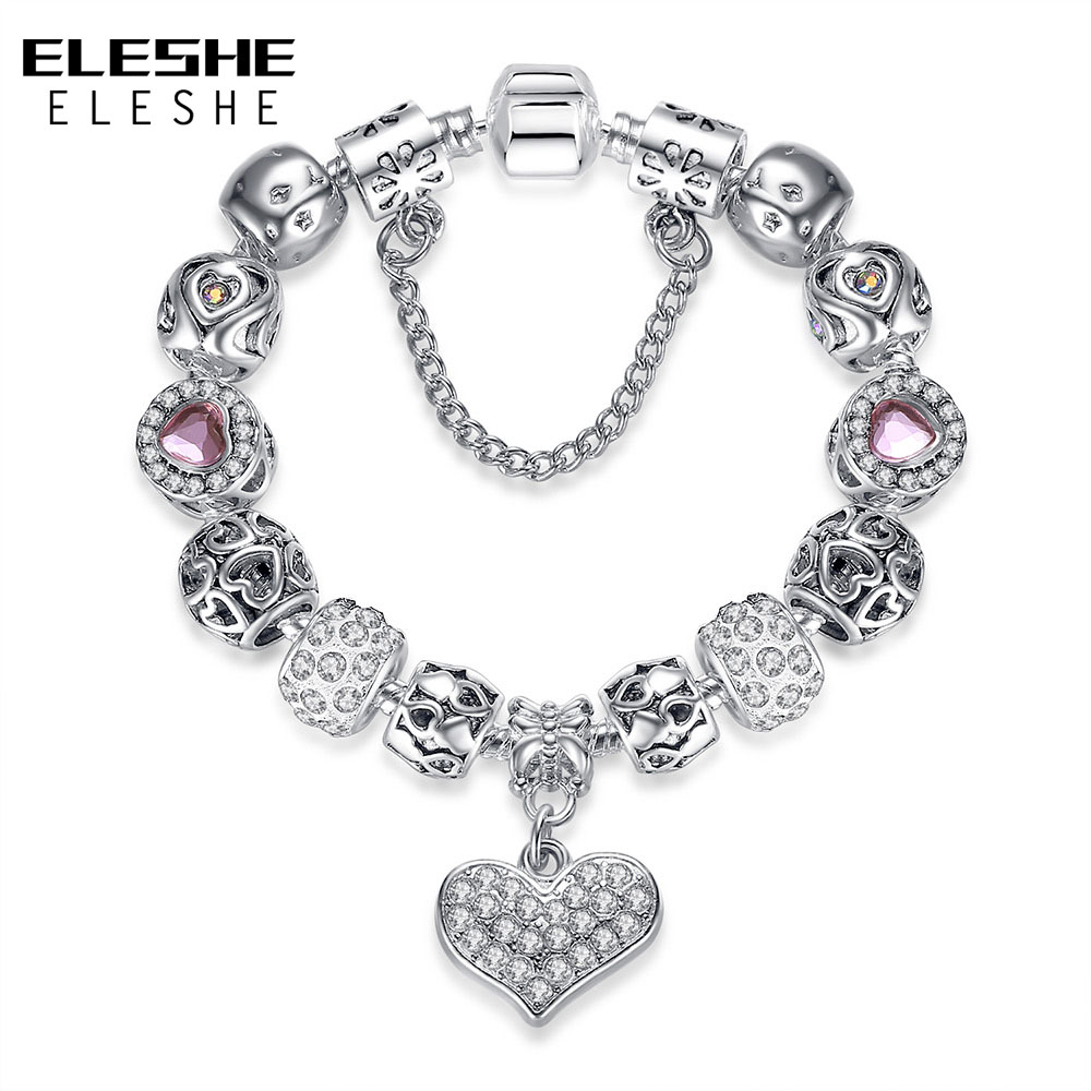 Valentine's Gift 925 Unique Silver Jewelry Heart Bracelet Bangle European Crystal Charms Beads Bracelet For Women Pulseras Gift