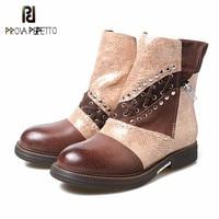 Prova perfetto/популярные дизайнерские теплые зимние сапоги из натуральной кожи на низком каблуке в стиле пэчворк, смешанные цвета, женские сапог