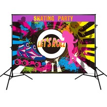 Skating Party Background Red Roller Skates Love Sports Graffiti Backdrop for Photo Booth Studio Vinyl Cloth