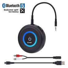 New 2-IN-1 Wireless Aux Adapter Bluetooth V5.0 Audio Transmitter Receiver  with APTX Low Latency for Home Stereo TV Headphone august mr230 aptx low latency wireless bluetooth 4 2 audio receiver 3 5mm aux bluetooth audio receiver adapter for car speakers