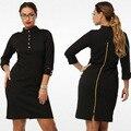 Vestidos tallas grandes! ropa para mujeres de gran tamaño/full cremallera volver vestido/zip backdress mujeres de gran tamaño