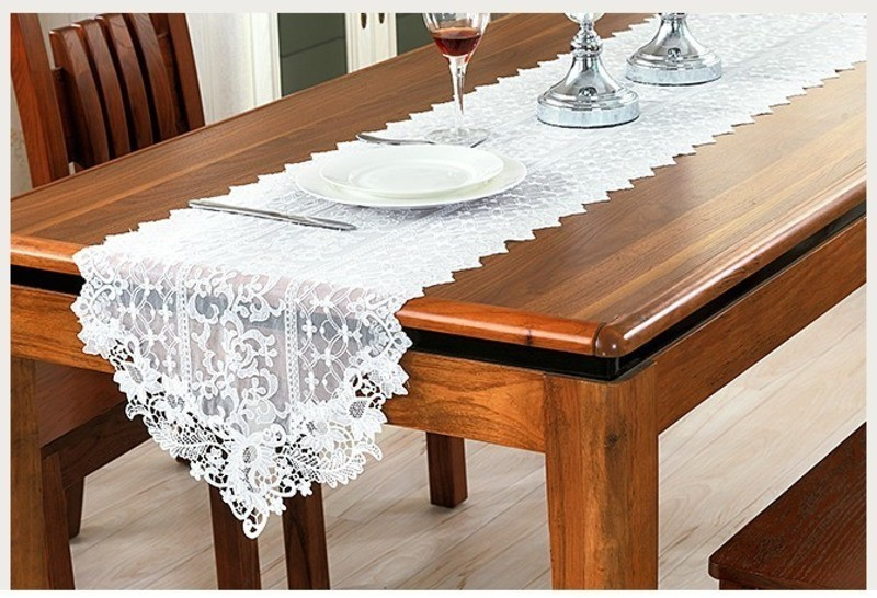 Good Quality Double-layer Tulle Lace Fabric Tablecloth Table Flag European Minimalist White Pastoral TV Cabinet Coffee Mat Cloth