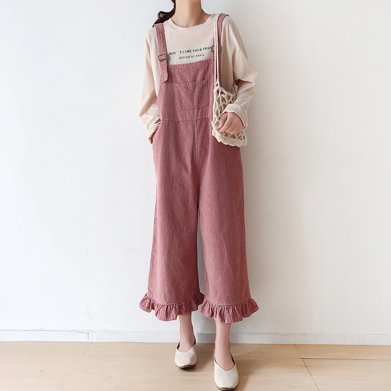 d6cd0444c73 Detail Feedback Questions about Women Autumn Corduroy Jumpsuits Japanese  Style Sweet Ruffle Loose Suspender Wide Leg Bib Overalls Casual Solid Long  Strap ...