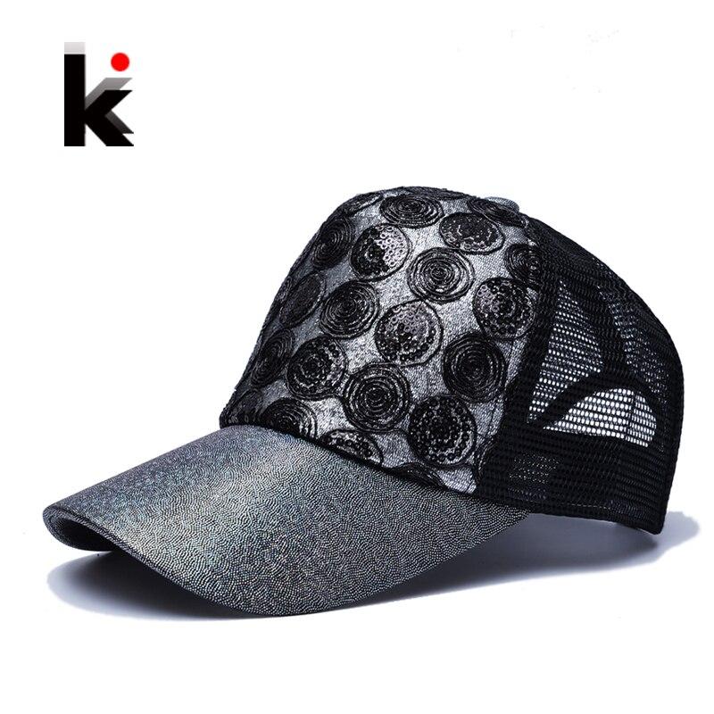 Prix pour 2017 Fille de Sun Cap Snapback Clignote Hip Hop Casquette Chapeau 5 Panneau Respirant chapeau de Maille D'été de Baseball Chapeaux de Soleil Pour Femmes
