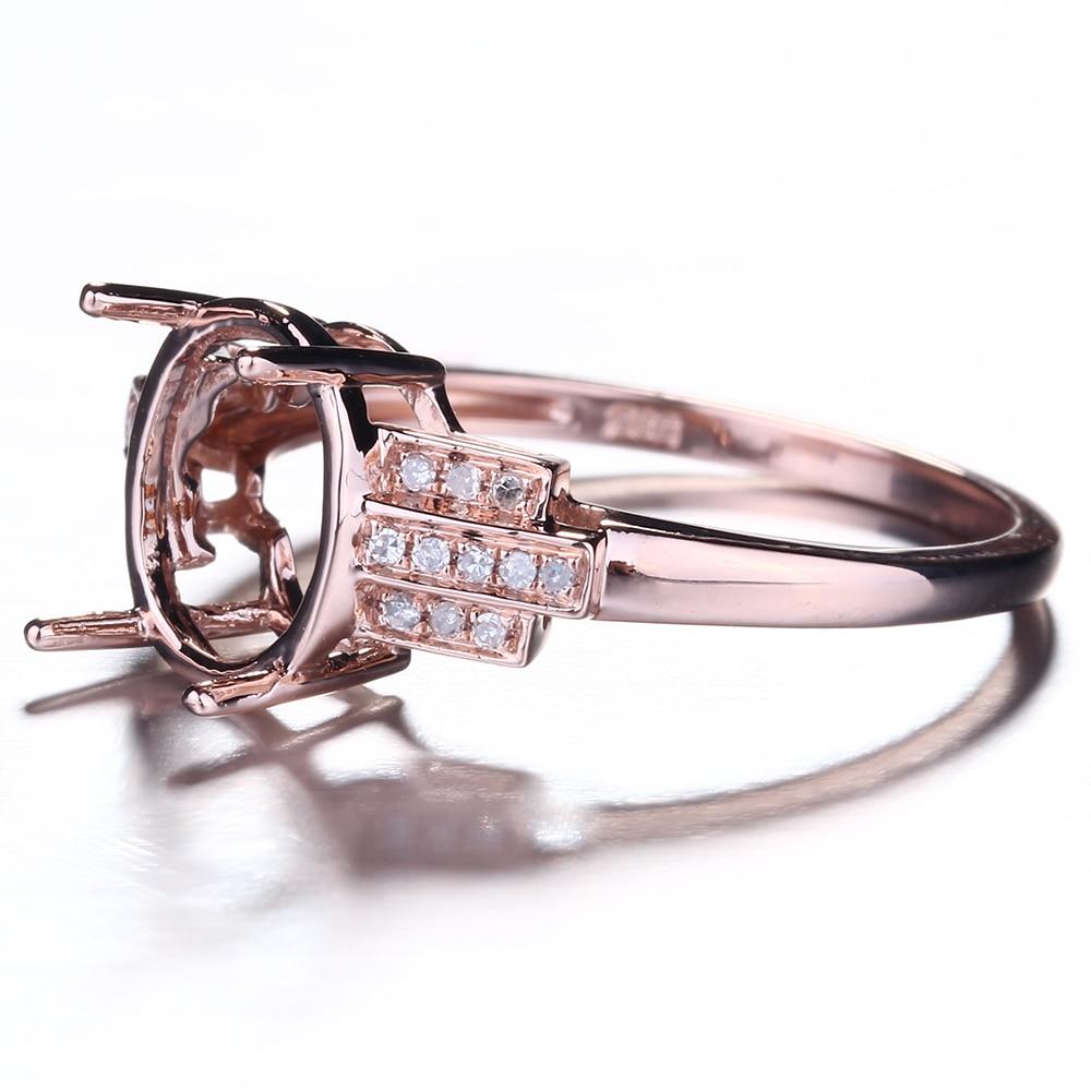 HELON Speciale Ontwerp Oval Cut 10x8mm Solid 10K Rose Gold Pave Natuurlijke Diamant Fijne Sieraden Engagement bruiloft Semi Montage Ring - 3