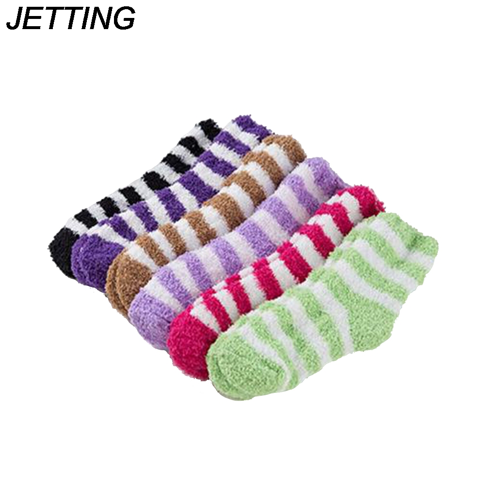 2017 Women Warm Thick Coral Fleece Stripe Slipper Non-slip Socks Floor Towel Bed Socks