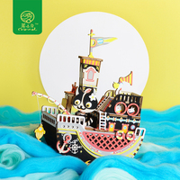 Robud Creative DIY 3D Fishing Kitty Wooden Puzzle Game Assembly Moveable Music Box Toy Gift for Children Kids Adult AMD42