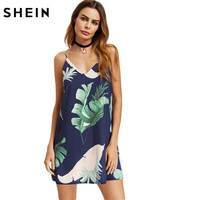 SheIn Navy Palm Leaf Print Double V Neck Cami Dress Women Beach Dress Spaghetti Strap Sleeveless