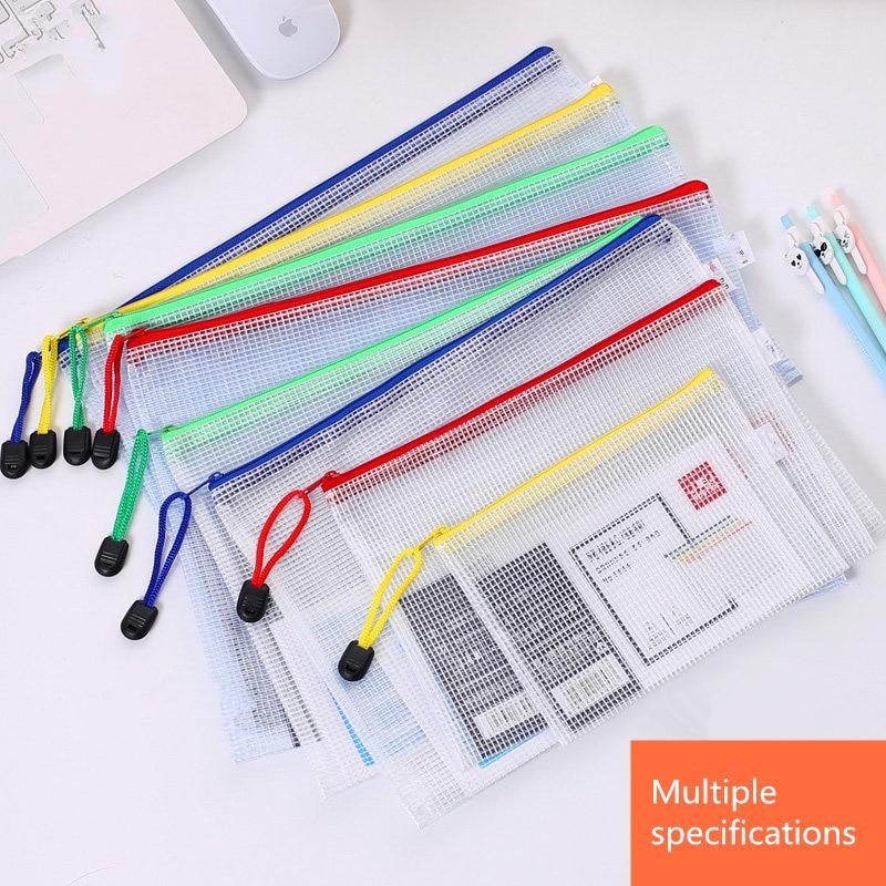 10pcs or 1pcs optional gridding waterproof Zi Pdocument Bag Filing Products Pocket Folder Office School file folder Supplies
