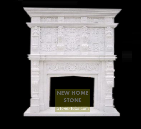 Double Style Fireplace Surround White Marble Sculpture Tall Mantel Custom For Your Livingroom