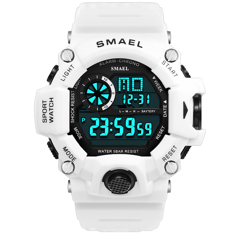 Digital Watch Men LED Display SMAEL Male Watch Sport Watches for Men Waterproof relogio masculino1385C White Digital Watches Men