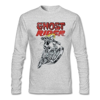 Good Mens Ghost Rider T Shirt Cool Maker Tees Skull with Motor t shirt O Neck Long sleeved uniform For Gentleman