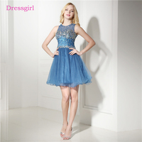 Blue 2019 Homecoming Dresses A line High Collar Short Mini Beaded Crystals Organza Backless Elegant Cocktail Dresses