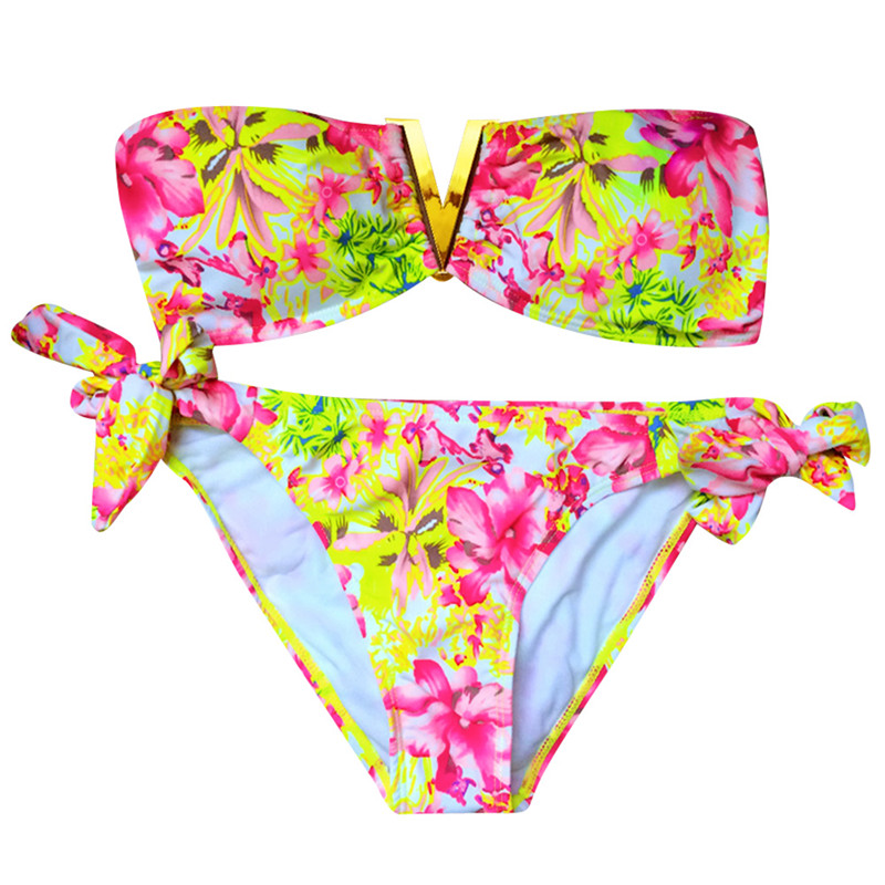 Sexy Women Bikini Set Push-up Padded Bra Swimsuit Bathing Suit Swimwear 2017 New Two Pieces Floral Biquini 2017 new sexy summer female women bow padded bra push up padded bikini set swimwear swimsuit bathing beachwear hot 7 colors suit