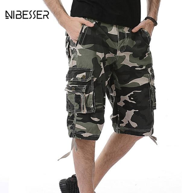 28a8c7571ed506 NIBESSER Stile Militare Pantaloni Mimetici pantaloni Multi-Tasca  Pantaloncini Fitness Moda IKnee Lunghezza Underpant Uomo