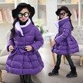 Chaquetas de invierno para niñas 2016 nueva moda floral girls escudo girls largo de down parka abrigos de lana gruesa caliente
