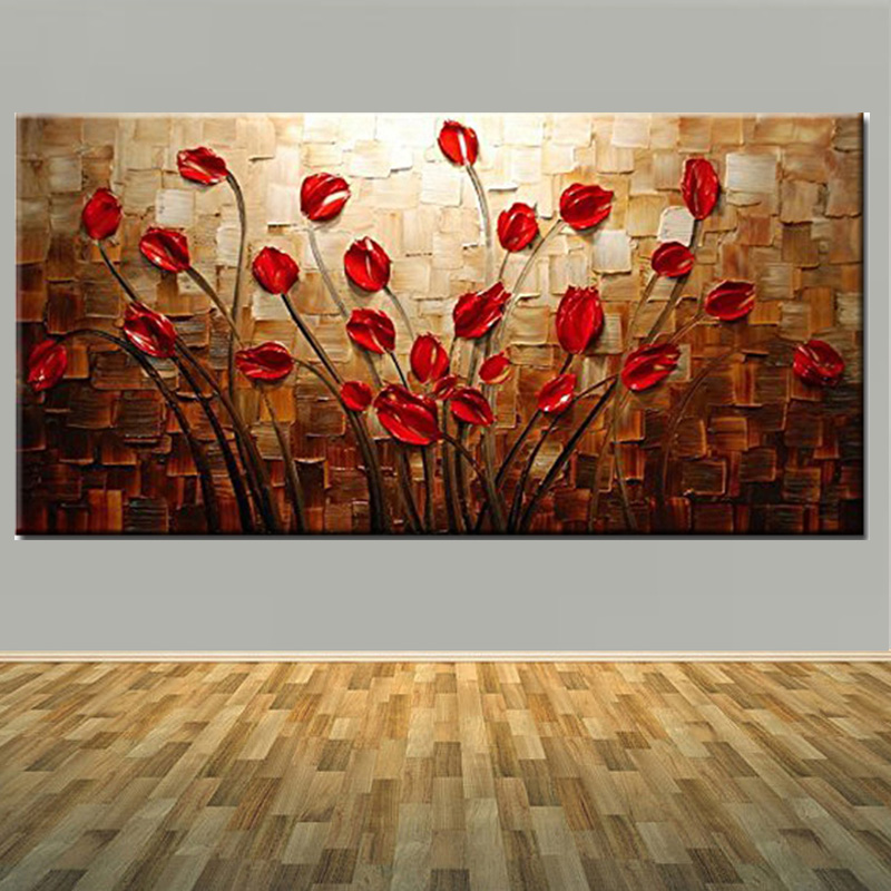 100% Hand Painted Textured Impastp Palette Knife Red Flower Canvas Oil Painting Red Flower Wall Pciture Living Room Home Decor
