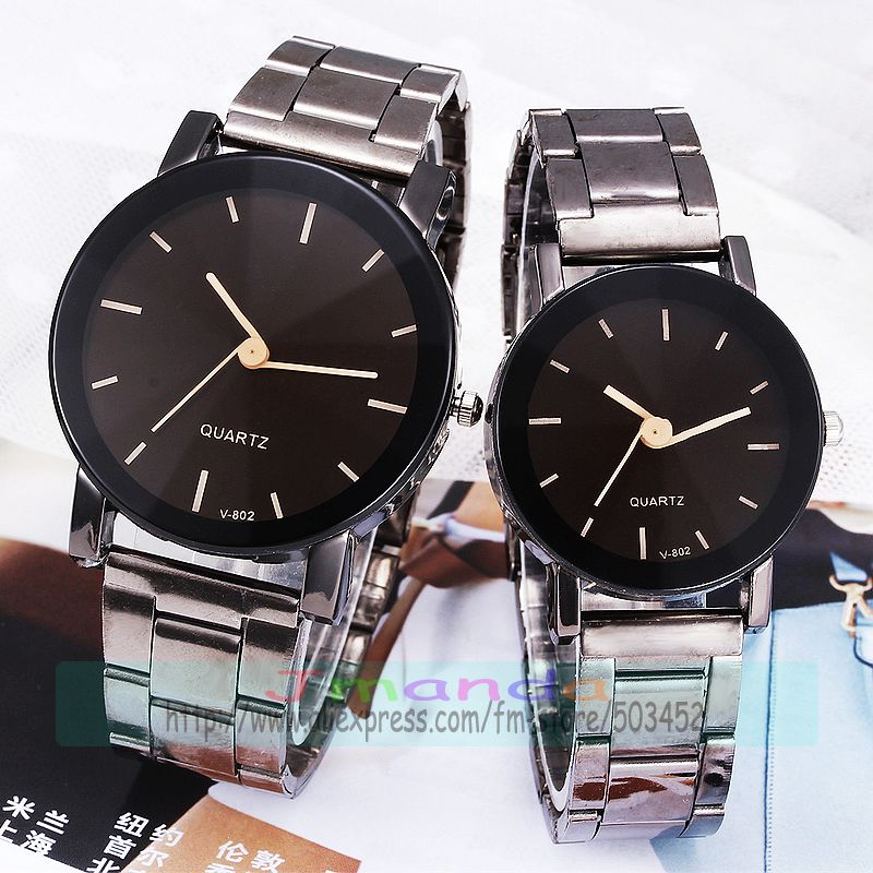 100pcs/lot VK-802 korea style stainless steel watch for couple exclusive glass wrap quartz casual lover's watch wholesale clock