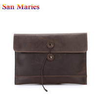 San Maries Men's Envelope Bag Korean Style Business Genuine Leather Bag Male Clutch Bag Man Vintage Document Bag Purse
