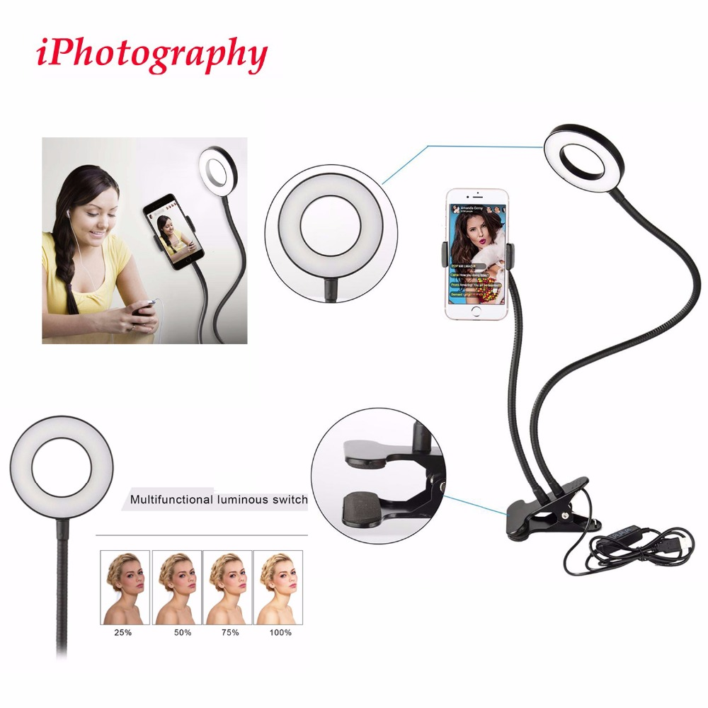 Lazy Bracket Cell <font><b>Phone</b></font> <font><b>Holder</b></font> with Selfie Ring Light for Live Stream,<font><b>Phone</b></font> <font><b>Clamp</b></font> for iphone 7,6/plus,for Samsung,HTC,HUAWEI