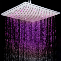 12inch Brass Large Sqare LED Rainfall Shower Head Luminous Shower head Temperature Sensor Romantic Rain Shower
